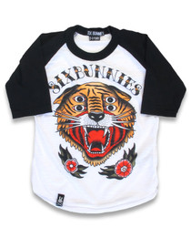 Six Bunnies 4 Eyes Tiger Kids Raglan Top