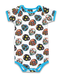 Six Bunnies Sugar Skulls Baby Onesie - Day of the Dead Romper