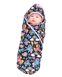Six Bunnies Unicorns Baby Blanket with Hood - baby
