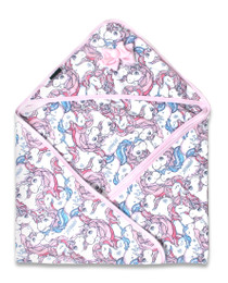 Six Bunnies Pink Unicorns Tattoo Baby Wrap Blanket  - closed