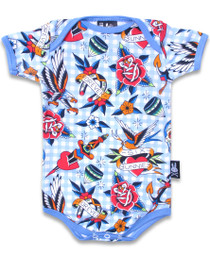 Six Bunnies Tattoo Shoppe Blue Baby Onesie Romper
