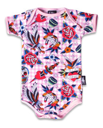 Six Bunnies Tattoo Shoppe Pink Baby Onesie Romper