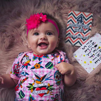 Six Bunnies Tattoo Shoppe Baby Onesie - Pink