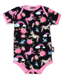 Six Bunnies Unicorns II Retro Baby Onesie