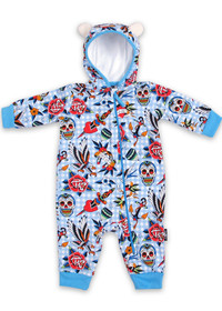 Six Bunnies Tattoo Shoppe Baby Hooded Romper