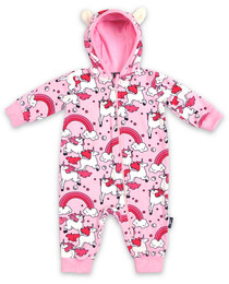 Six Bunnies Pink Rainbow Unicorns Baby Hooded Romper