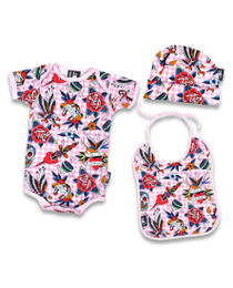 Six Bunnies tattoo shoppe pink onesie, Bib and Beanie - box - close
