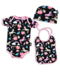 Six Bunnies Unicorn Wonderland onesie, Bib and Beanie - giftset