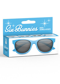 Six Bunnies Unisex Kids Wayfarer Blue Sunglasses