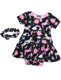 Six Bunnies Unicorn Dress Onesie with Headband Set