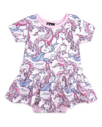 Six Bunnies Unicorn Dreams Dress Onesie with Headband Set - front