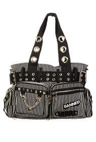 Banned Apparel Black and White Striped Handcuff Bag