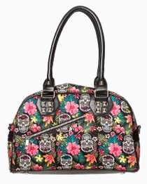 Banned Apparel Hibiscus and Skull Handbag