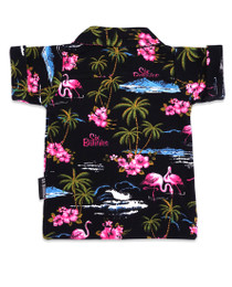 Six Bunnies Flamingos Hawaiian Baby Button Up Rockabilly Shirt - Back