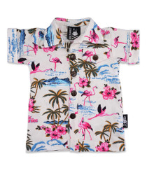 Six Bunnies Flamingos Hawaiian Baby Button Up Rockabilly Shirt