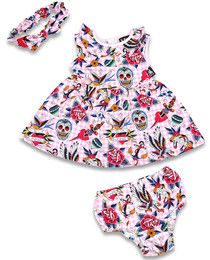 Six Bunnies Tattoo Shoppe Dress, Nappy Cover and Headband Set