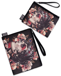 Liquorbrand Gypsy Rose Skull 2 Piece Wallet and Coin Pouches