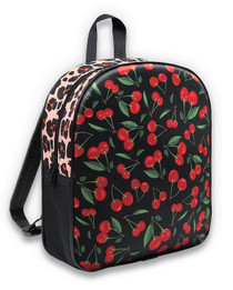 Six Bunnies Cherry Leopard Print Kids Backpack