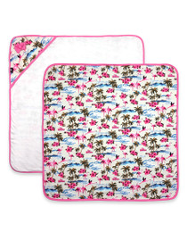 Six Bunnies Flamingos Baby Wrap Blanket - Cream