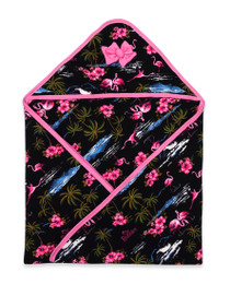 Six Bunnies Flamingoes Baby Wrap Blanket - black
