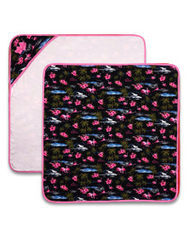 Six Bunnies Flamingos Baby Wrap Blanket - Black