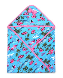 Six Bunnies Flamingoes Baby Wrap Blanket - blue