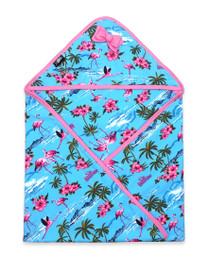 Six Bunnies Flamingoes Baby Wrap Blanket - blue