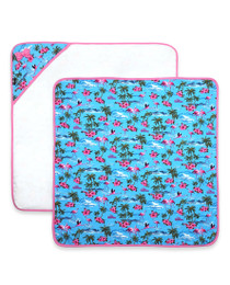 Six Bunnies Flamingos Baby Wrap Blanket - Blue