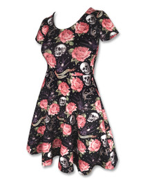 Liquorbrand Womens Rose Tattoo Dress - Black