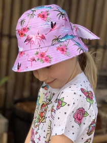 Six Bunnies Flamingos Girls Bucket Hat