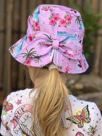 Six Bunnies Flamingos Bucket Hat with Bow