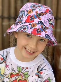 Six Bunnies Sugar Skulls Girls Bucket Hat