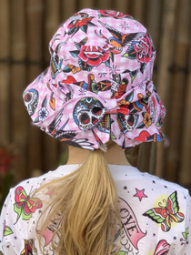 Six Bunnies Tattoo Shoppe Bucket Hat with Bow