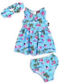 Six Bunnies Flamingos Dress, Nappy Cover and Headband Set