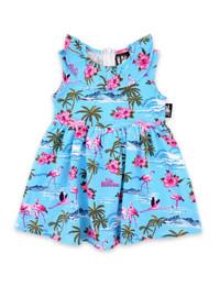 Six Bunnies Flamingos Set on Blue - Dress, Bloomers & Headband