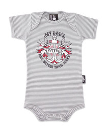Six Bunnies My Dads Tattoos are better than yours Baby Gift Set - romper