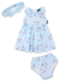 Six Bunnies Blue Unicorn Dress, Nappy Cover and Headband Set