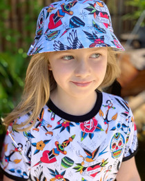 Six Bunnies Tattoo Shoppe Bucket Hat - Blue