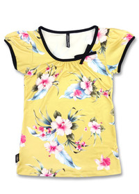 Liquorbrand Luau Yellow Vintage Bow Scoop Top