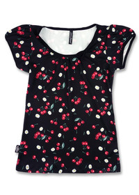 Liquorbrand Daisy Cherry Black Vintage Bow Scoop Top