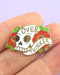 Jubly Umph Over Thinker Skull Enamel Pin