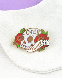Jubly Umph Over Thinker Skull Enamel Pin - on lapel