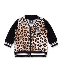 Six Bunnies Leopard Print Baby Varsity Bomber Jacket