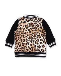 Six Bunnies Leopard Print Baby Varsity Bomber Jacket - Back