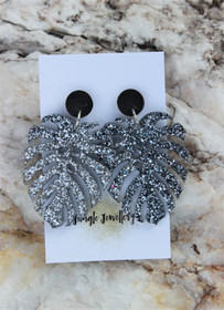 Monstera Drop Resin Glitter Earrings - Graphite
