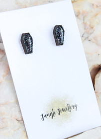 Coffin Shapred Resin Glitter Stud Earrings