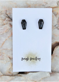 Coffin Resin Glitter Stud Earrings