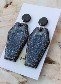 Coffin Resin Glitter Drop Earrings