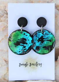 Peacock Round Drop Earrings
