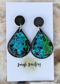 Peacock Teardrop Drop Earrings